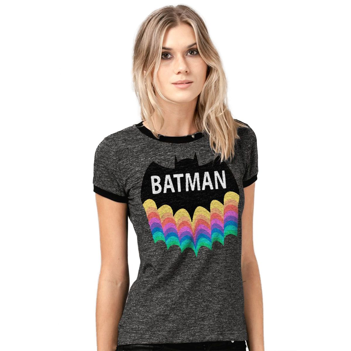Camiseta Batman Rainbow Ringer Feminina  - bandUP Store Marketplace