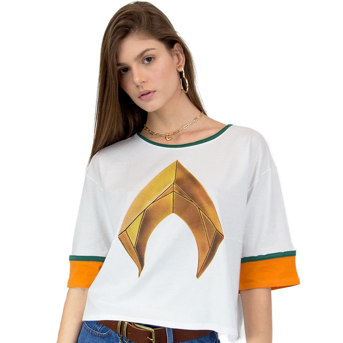 Camiseta Feminina Aquaman Logo Movie  - bandUP Store Marketplace