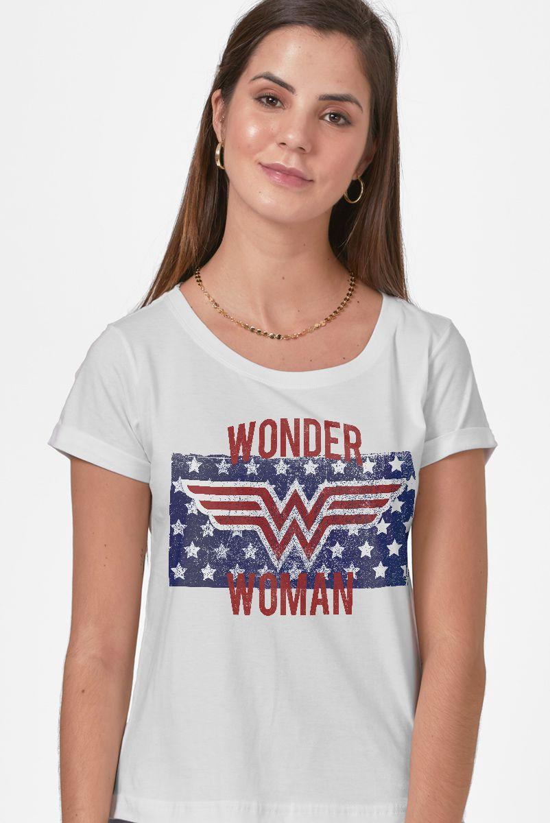 Camiseta Feminina Mulher Maravilha Flag Stars  - bandUP Store Marketplace
