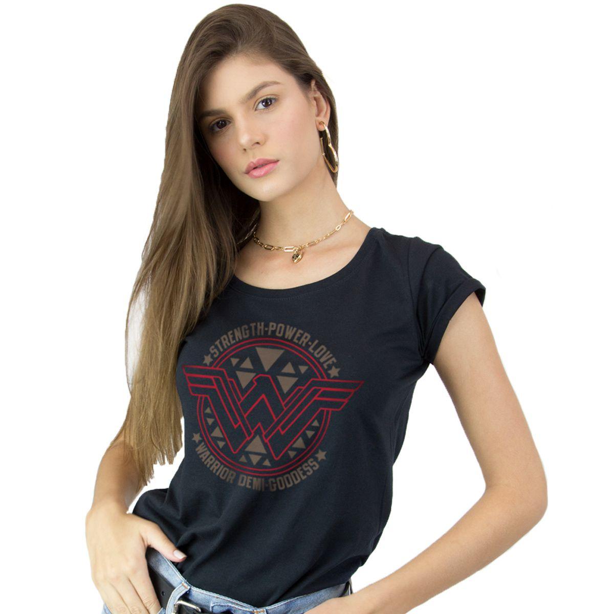 Camiseta Feminina Wonder Woman Logo Power Love  - bandUP Store Marketplace