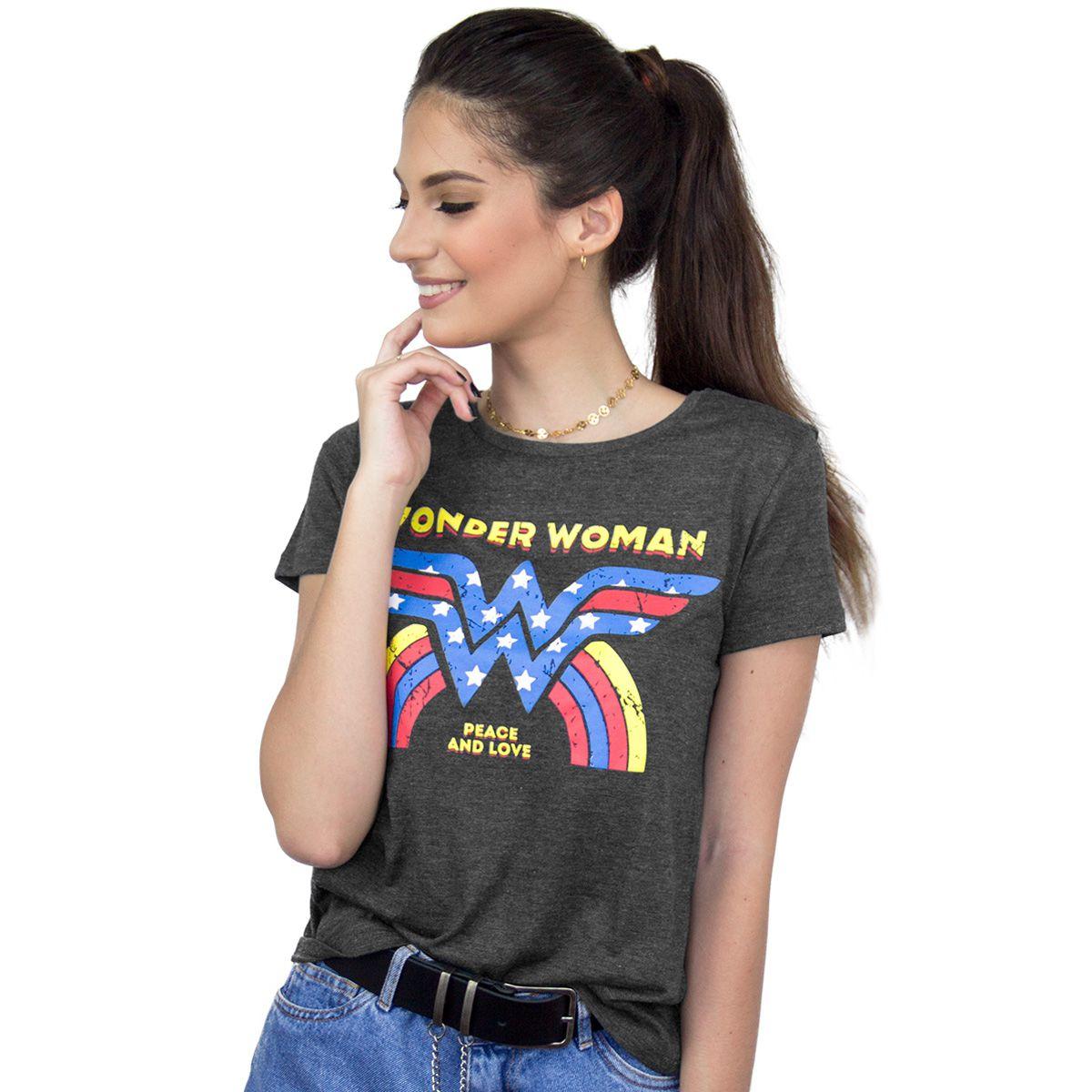 Camiseta Feminina Wonder Woman Peace and Love  - bandUP Store Marketplace