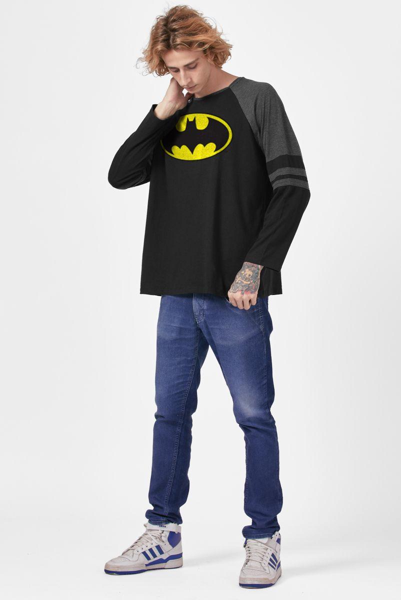 Camiseta Manga Longa Masculina Batman Logo Clássico  - bandUP Store Marketplace