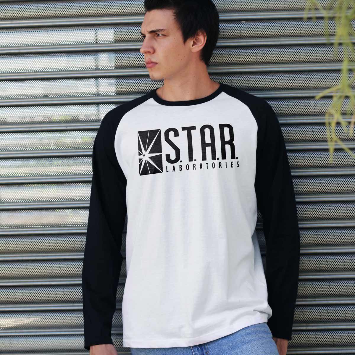 Camiseta Manga Longa Raglan Masculina The Flash Star Laboratories  - bandUP Store Marketplace