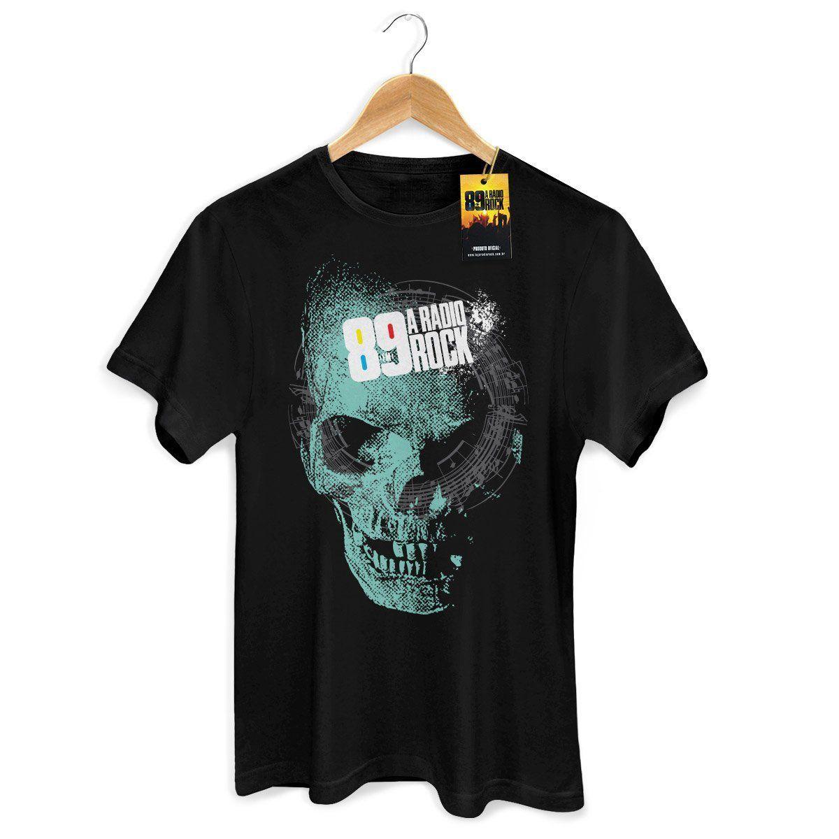 Camiseta Masculina 89 FM - Skull Modelo 2  - bandUP Store Marketplace