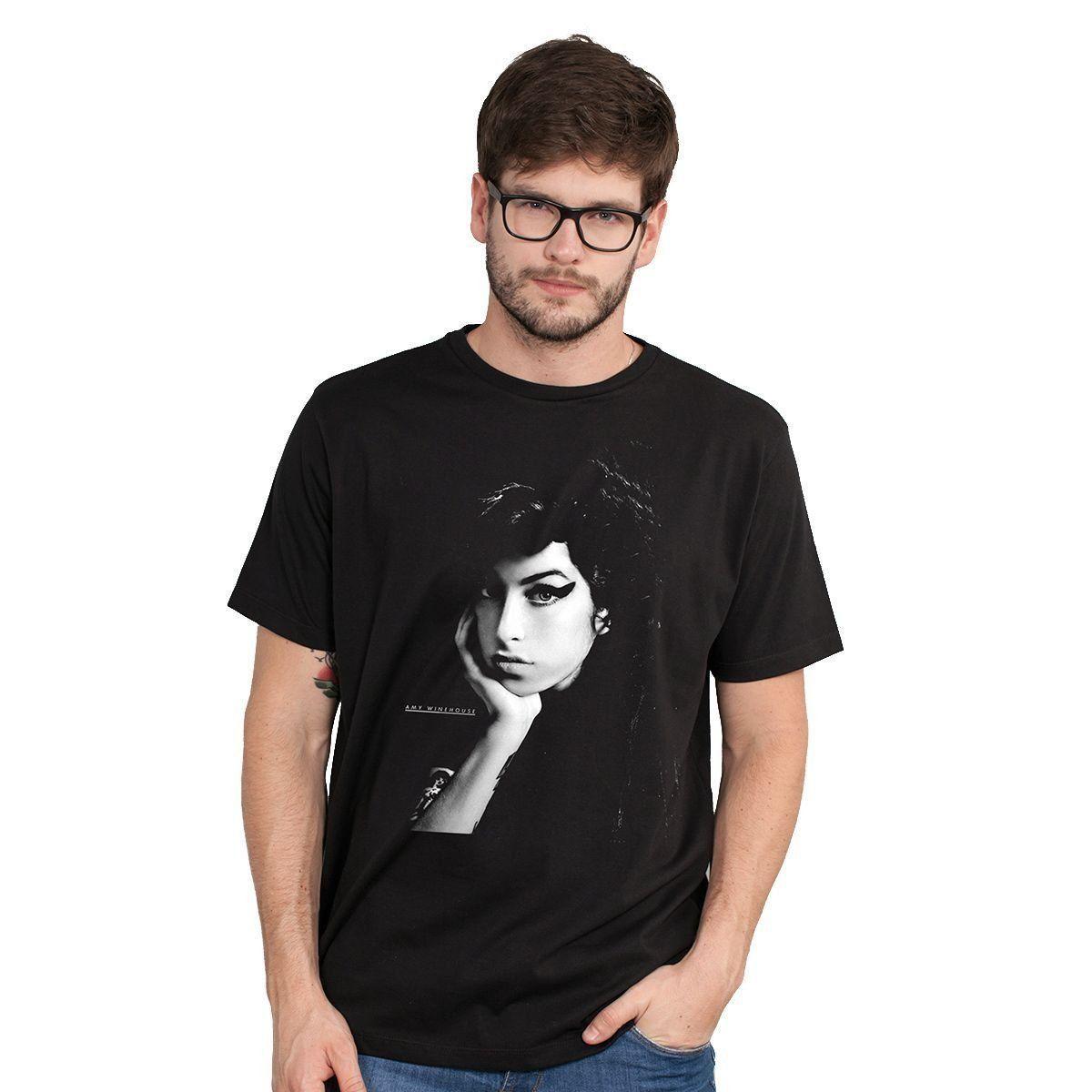 Camiseta Masculina Amy Winehouse Black & White Oficial  - bandUP Store Marketplace