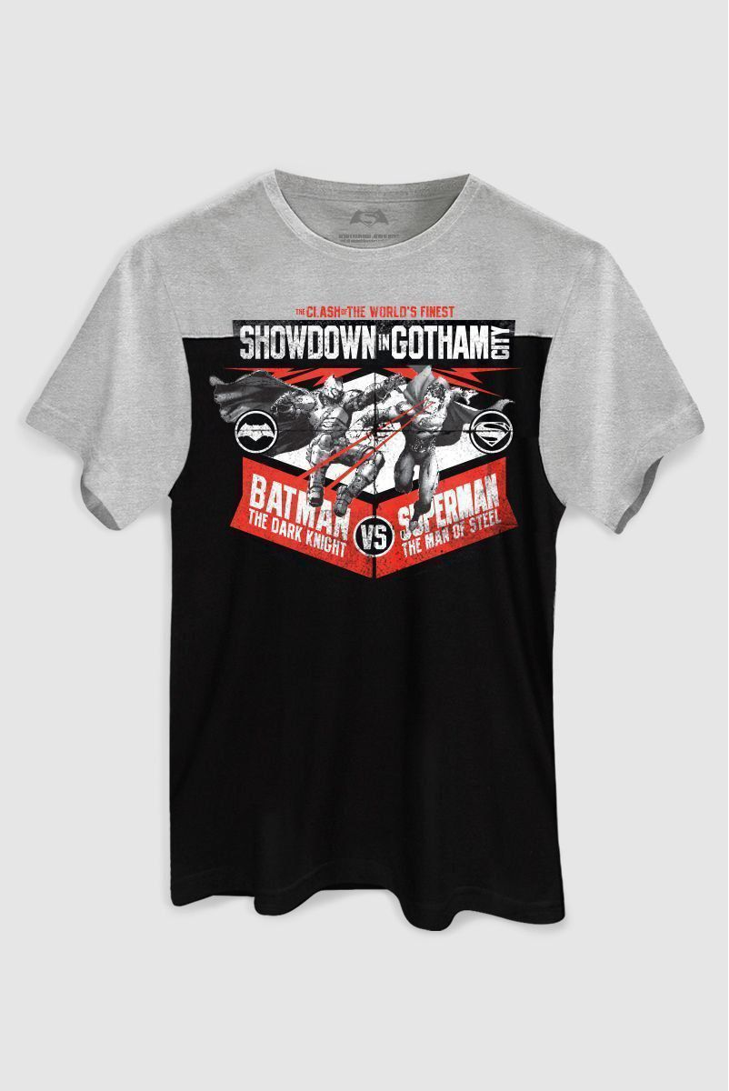 Camiseta Masculina BiColor Batman VS Superman Showdown In Gotham City  - bandUP Store Marketplace