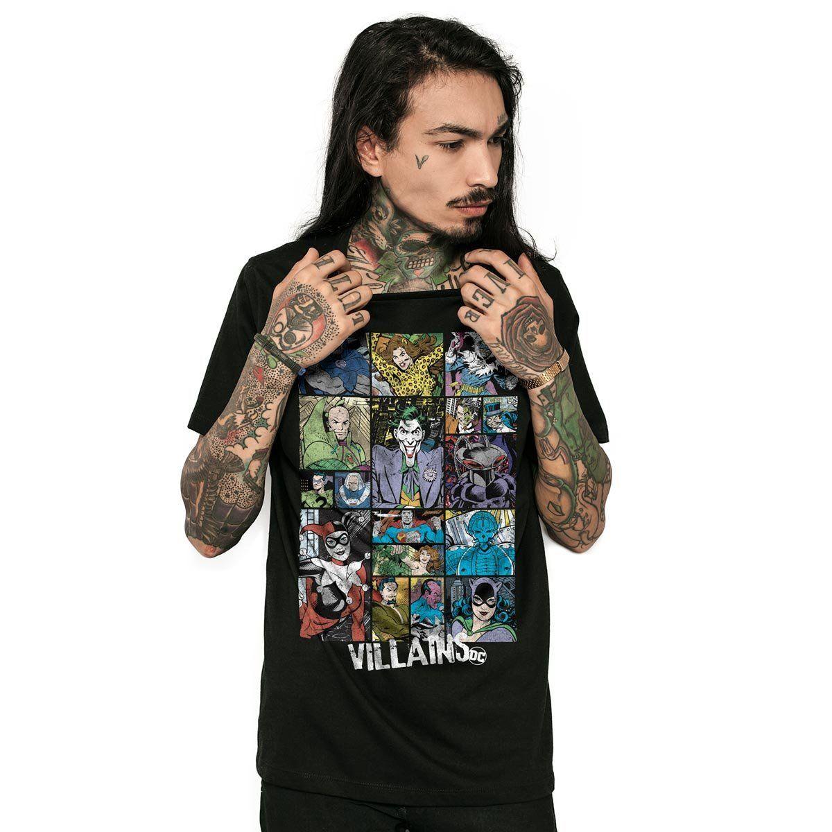 Camiseta Masculina DC Comics Villains Oficial  - bandUP Store Marketplace