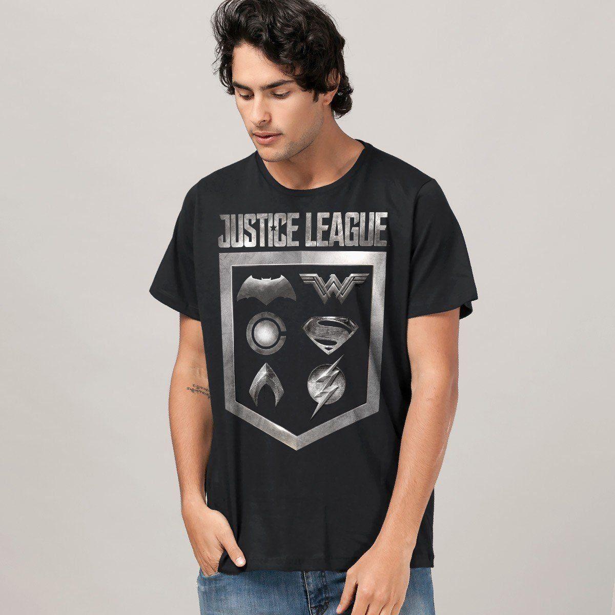 Camiseta Masculina Liga da Justiça Icons Oficial  - bandUP Store Marketplace