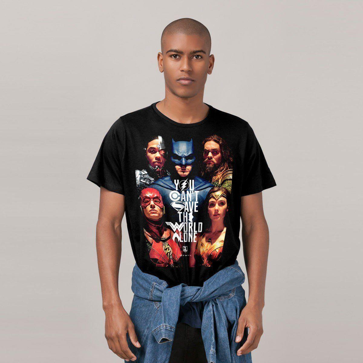 Camiseta Masculina Liga da Justiça Poster Oficial  - bandUP Store Marketplace