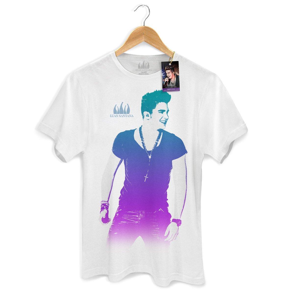 Camiseta Masculina Luan Santana Foto Degradê Branca  - bandUP Store Marketplace