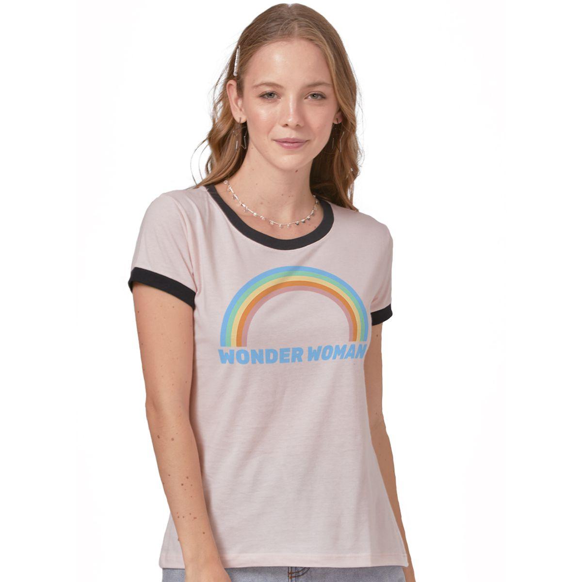 Camiseta Mulher Maravilha Rainbow Ringer  - bandUP Store Marketplace