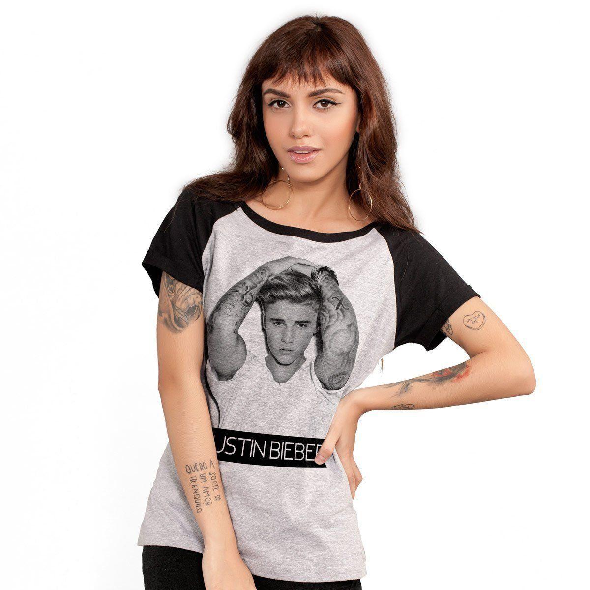 Camiseta Raglan Feminina Justin Bieber Purpose B&W Oficial  - bandUP Store Marketplace