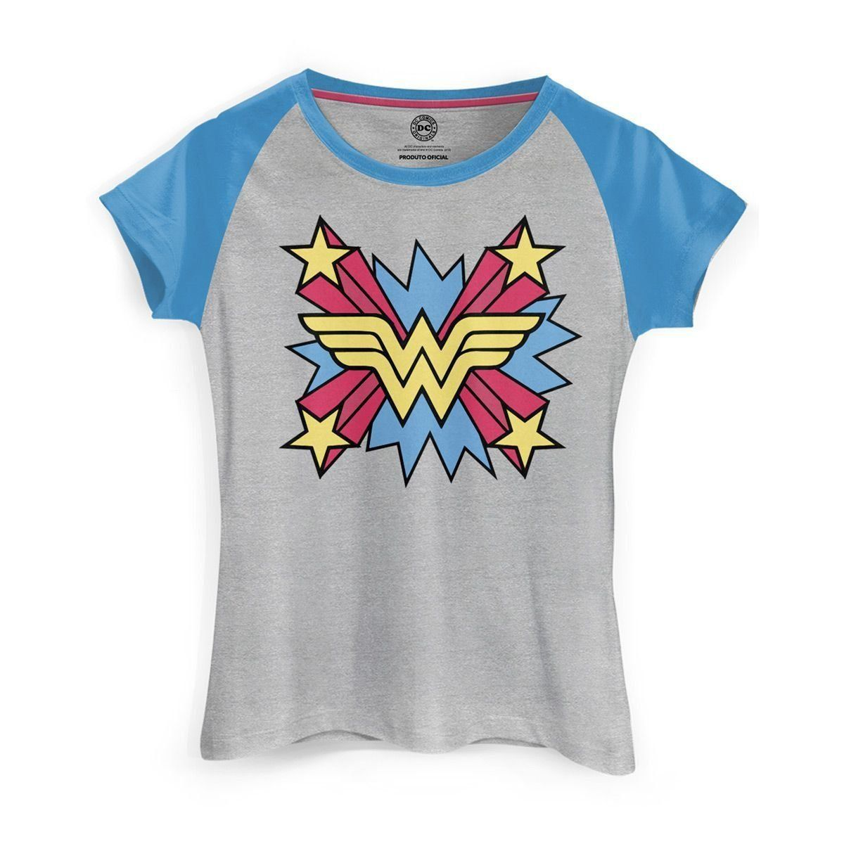 Camiseta Raglan Feminina Wonder Woman Logo Star  - bandUP Store Marketplace