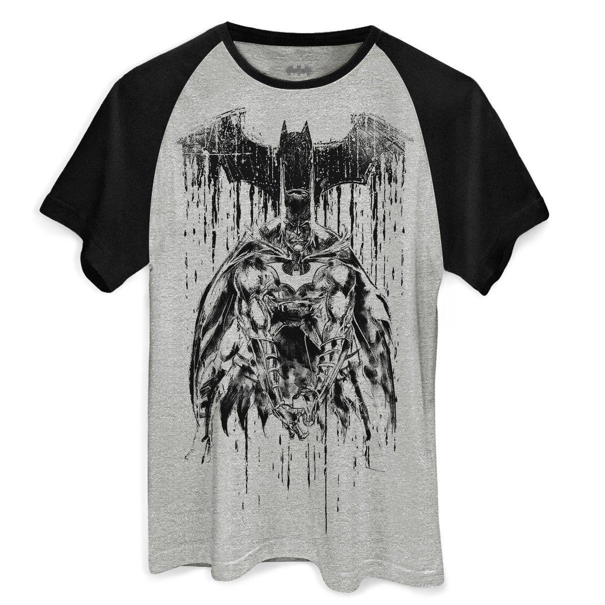 Camiseta Raglan Masculina Batman Melting Sketch Oficial  - bandUP Store Marketplace