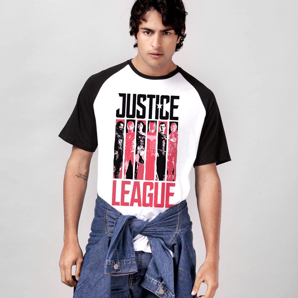 Camiseta Raglan Masculina Liga da Justiça Flags  - bandUP Store Marketplace