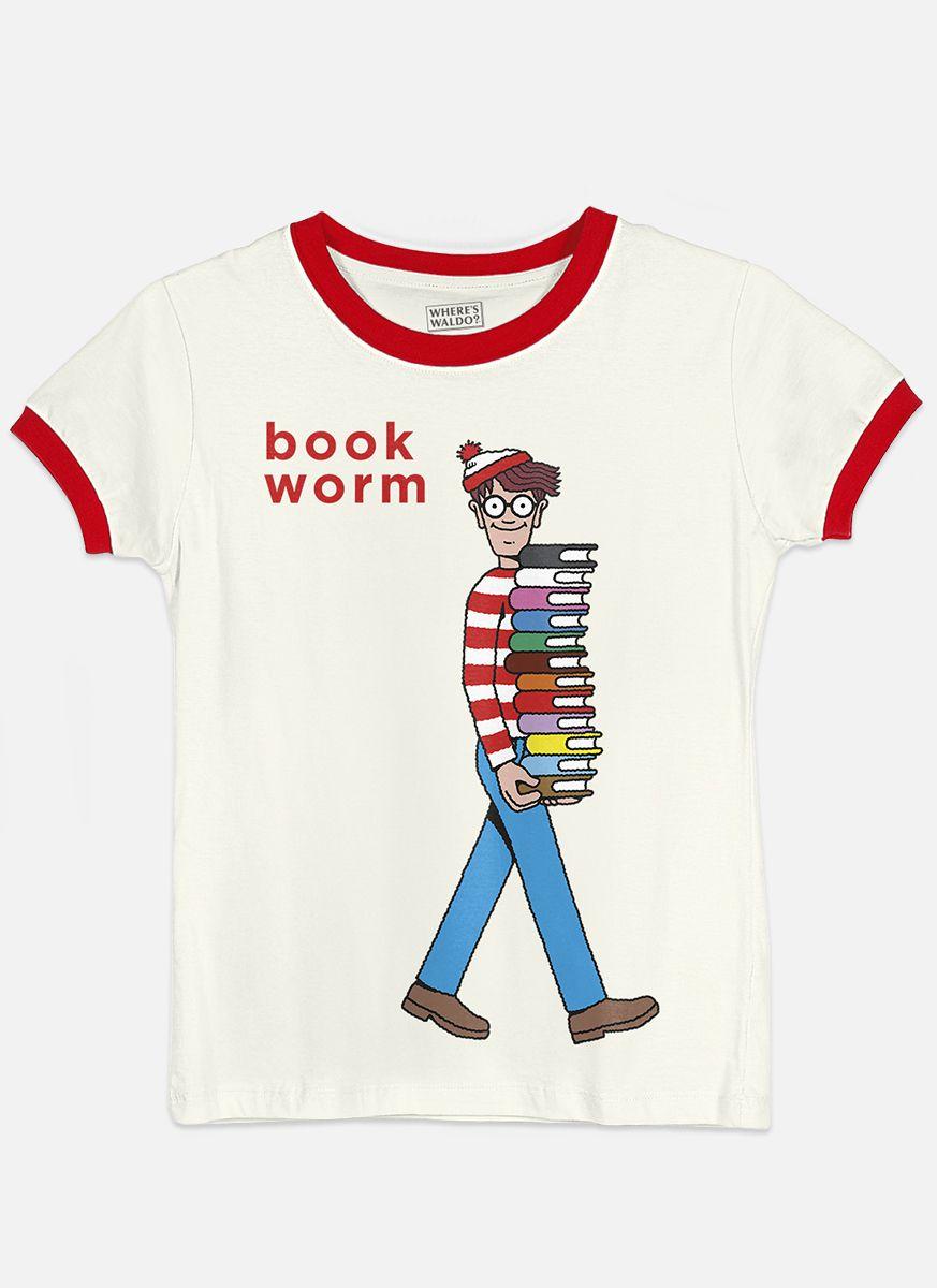 Camiseta Ringer Feminina Aonde Está o Wally? Book Worm  - bandUP Store Marketplace