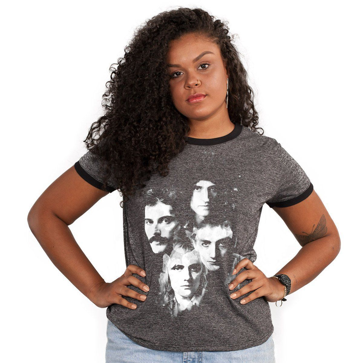 Camiseta Ringer Feminina Queen Faces  - bandUP Store Marketplace