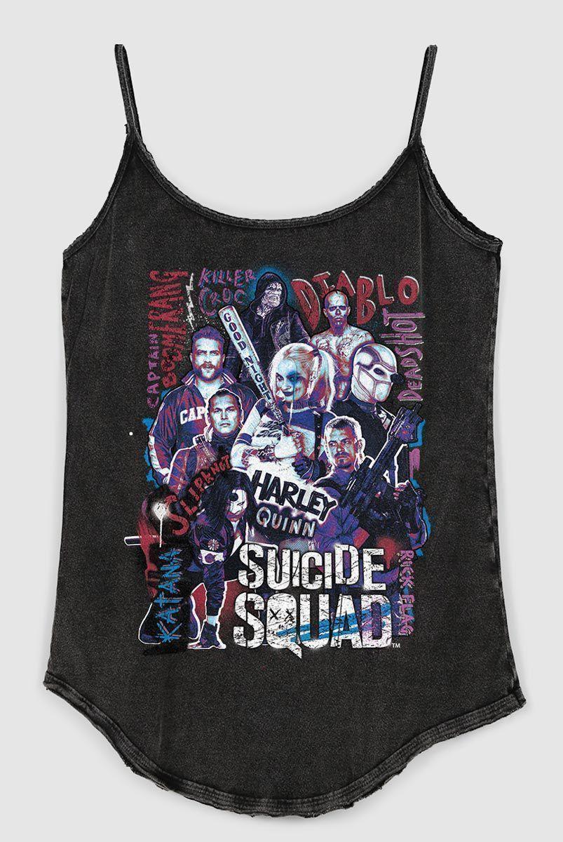 Regatinha Feminina Esquadrão Suicida Cast  - bandUP Store Marketplace