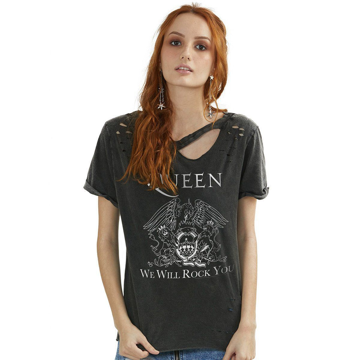 T-shirt Destroyed Feminina Queen We Will Rock You  - bandUP Store Marketplace