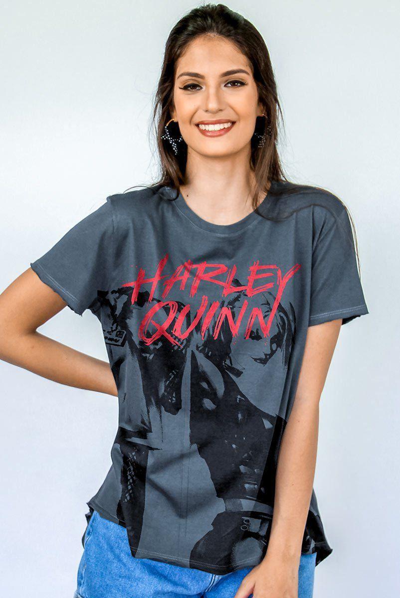 T-Shirt Feminina com Fenda Harley Quinn  - bandUP Store Marketplace