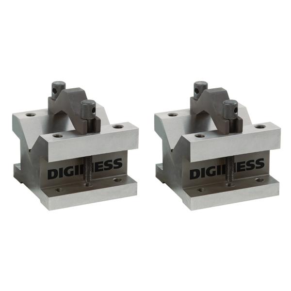 Blocos Em V Com Grampos - Dimensões 105x105x78mm - Capacidade Até Ø50mm - Cód. 310.004 - DIGIMESS