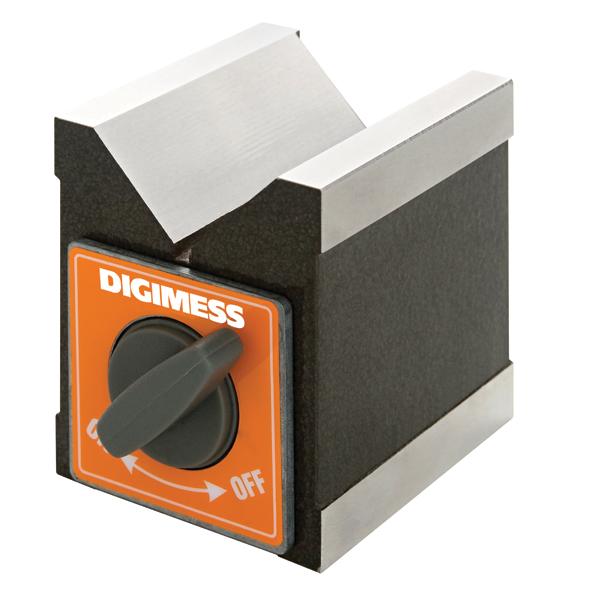 Bloco Em V Magnético - Dimensões 70x72x60mm - Tipo Individual - Capacidade Ø10-50mm - Força Magnética 50kgf - Cód. 310.102 - DIGIMESS
