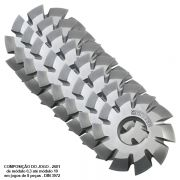 Fresa de Perfil Constante, Sistema Módulo 5 - Ângulo de Pressão 20°, Detalonado - DIN 3972 - Aço HSS (M2) - Jogo de 8 Peças - INDAÇO