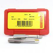 Jogo de Macho Manual Aço Rápido HSS M8 x 1,25 E100 - DIN 352 - Jogo com 2 Peças - DORMER