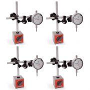 Kit Base Magnética Com Ajuste Fino e Relógio Comparador - Cap. 0-10 mm - Graduação De 0,01mm - DIGIMESS