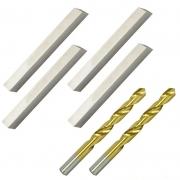 Kit Bits Quadrado 1/2 X 4 - Com 12% De Cobalto e Broca Haste Paralela Com Titânio - Med. 1/4 - JG TOOLS