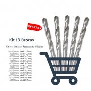 Kit Broca Haste Paralela Med 13,5 à 20,5 DIN 338N - 13 Peças