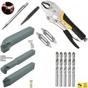 Kit Ferramenta Soldada + Riscador + Broca Centrar + Broca Paralela + Punção Centro + Alicate Pressão
