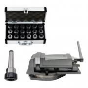 Kit Jogo Pinças ER40 Cone Morse 4 + Morsa Med.125mm