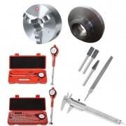 Kit Placa Universal 255mm + Flange / Lima Rotativa e Mecânica + Comparador Diâmetro Interno + Paquímetro