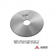 Serra Circular Hss Din 1837 A - Med. 63 X 1,5 X 16mm