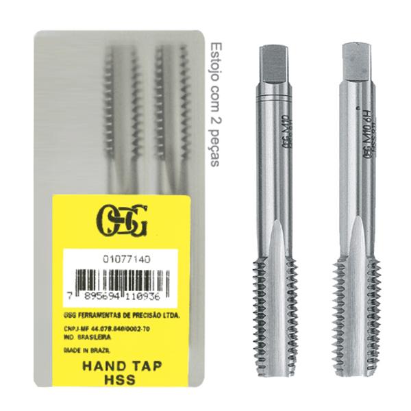 Jogo De Macho Manual Aço Rápido HSS M 8,0 X 1,00 - Perfil Semi-Seriado - (MF) 102 - DIN 2181 - Jg Com 2 Peças - OSG
