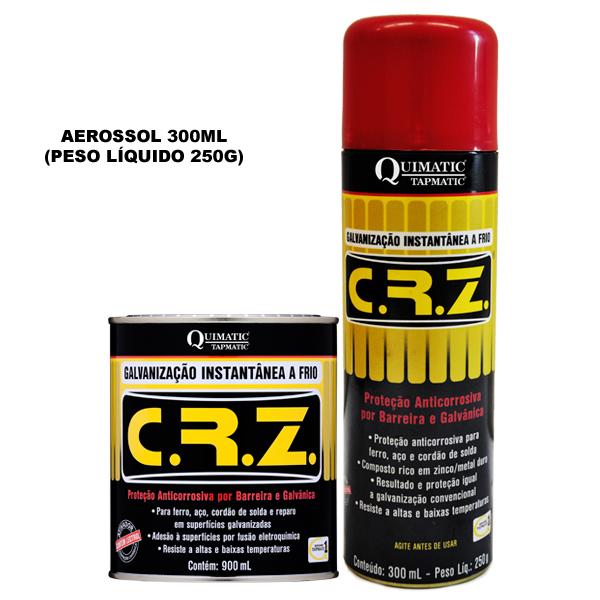 C. R. Z. ? Galvanização Instantânea a Frio - Embalagem 300 ML Aerossol - QUIMATIC/TAPMATIC