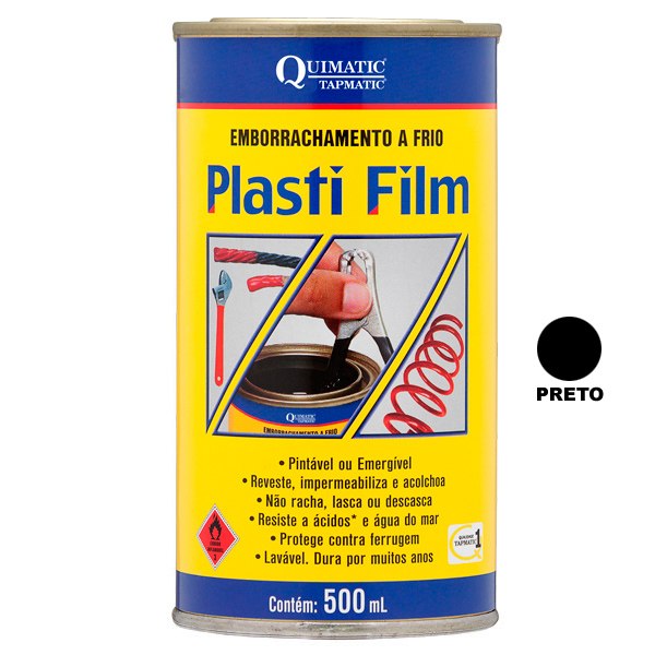 PLASTI FILM ? Emborrachamento a Frio - Lata de 3,6 Litros - PRETO - QUIMATIC/TAPMATIC