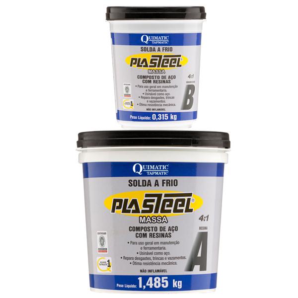 PLASTEEL MASSA 4:1 - Solda a Frio - Resina para Recuperação de Desgastes e Reparos Gerais - Embalagem 9,57 KG - QUIMATIC/TAPMATIC