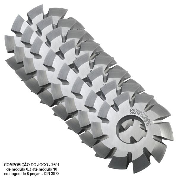 Fresa de Perfil Constante, Sistema Módulo 0,6 - Ângulo de Pressão 20°, Detalonado - DIN 3972 - Aço HSS (M2) - Jogo de 8 Peças - INDAÇO