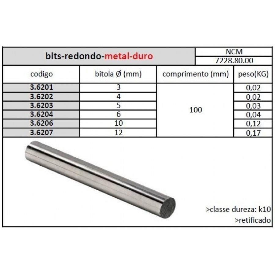 Bits Redondo Metal Duro 06 Mmx100 K10 - JG TOOLS