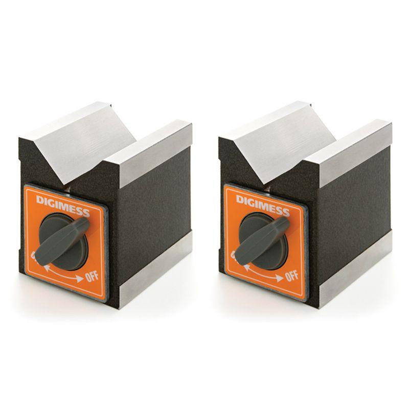 Bloco Em V Magnético - Dimensões 100x95x70mm - Tipo Em Par - Capacidade Ø4-60mm - Força Magnética 100kgf - Cód. 310.105 - DIGIMESS
