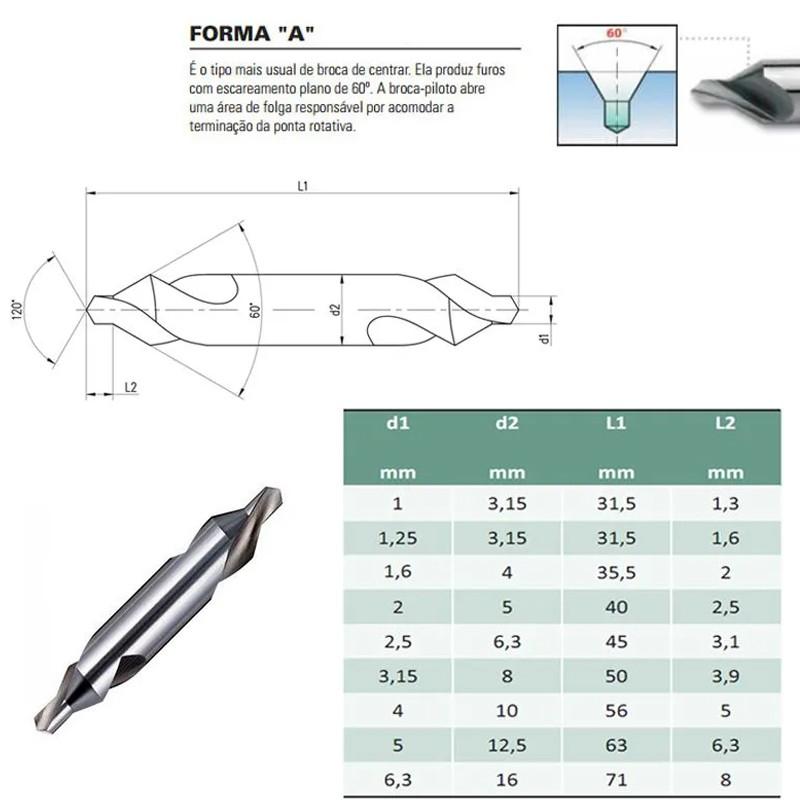 Broca De Centrar HSS - 2,0 X 5,0 mm - Din 333 A