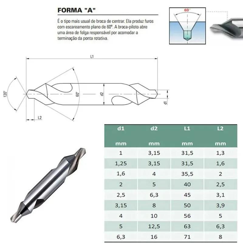 Broca De Centrar HSS - 6,3 X 16,0 mm - Din 333 A