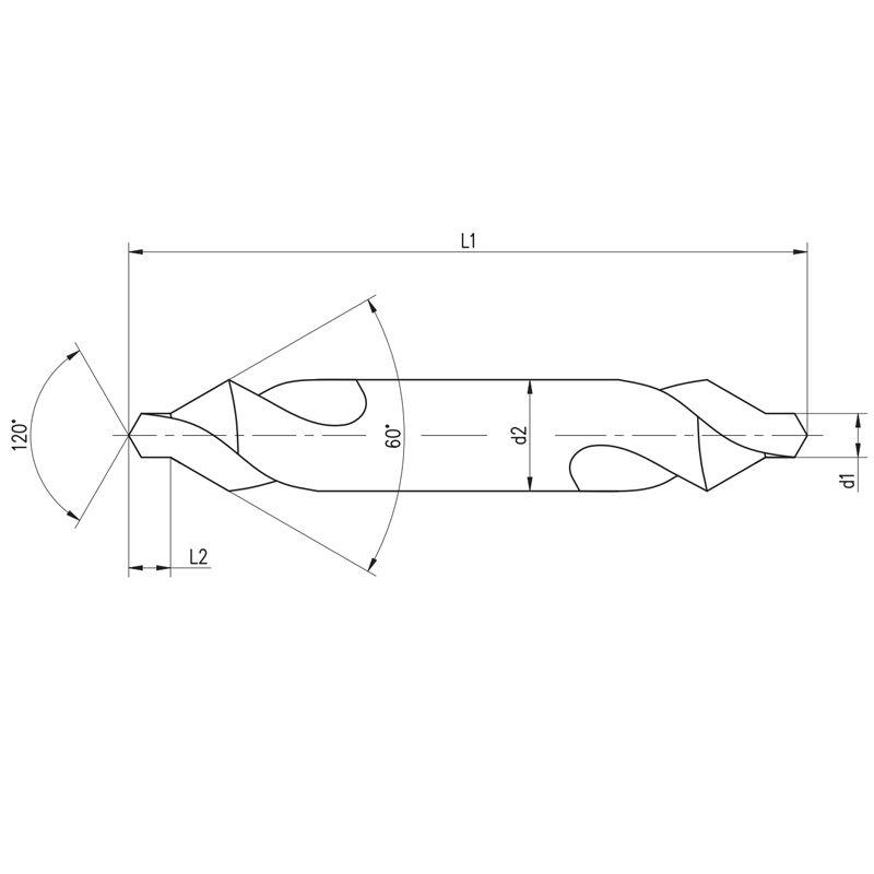 Broca De Centrar HSS - Med. 1,0 X 3,15 mm - Corte à Direita, DIN 333 A - INDAÇO