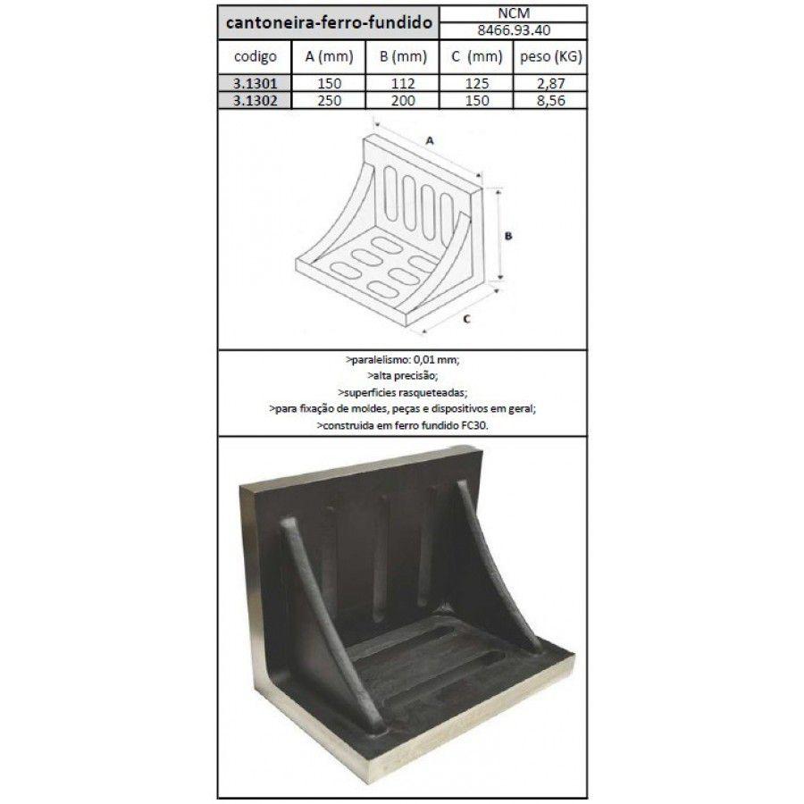 Cantoneira Ferro Fundido 150x112x125 mm - JG TOOLS