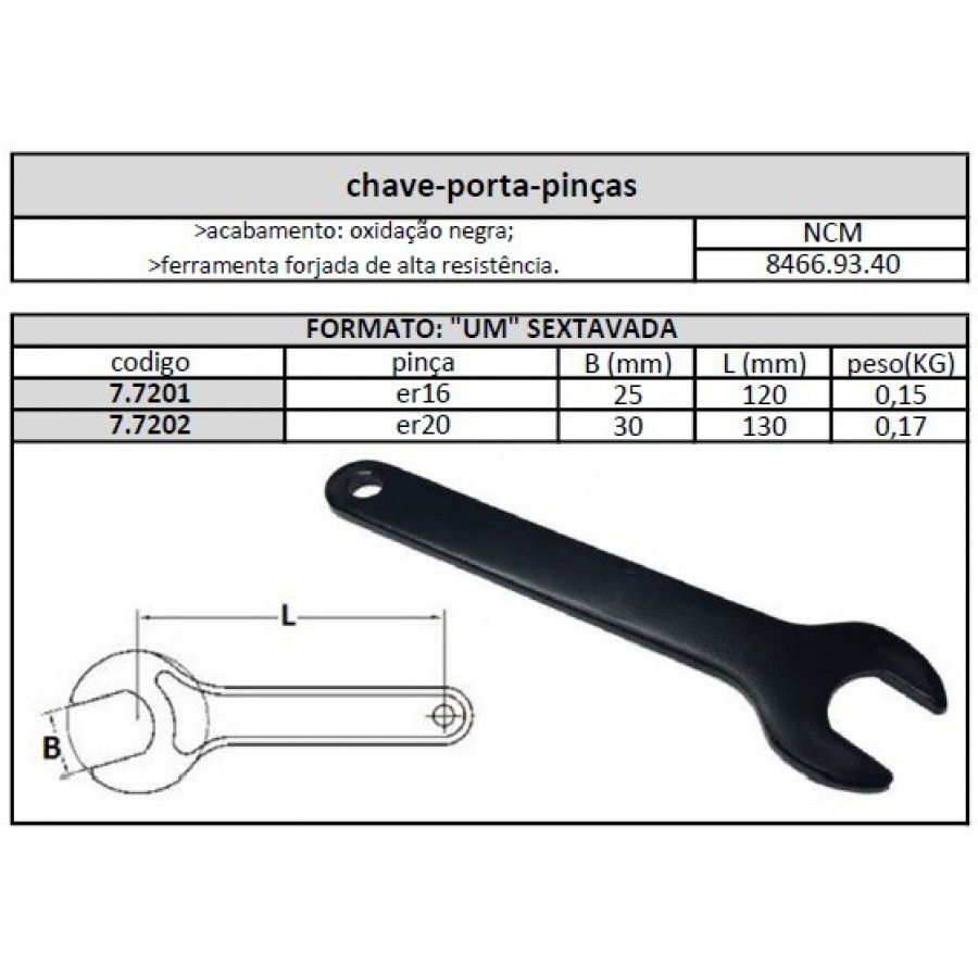 Chave Encaixe Porta Pinças ER 20 A - JG TOOLS