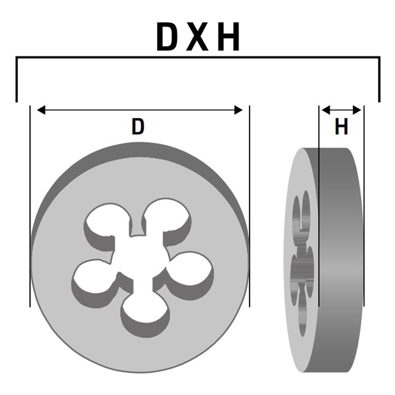 Cossinete Manual Em Aço Liga WS - Med. M 5 x 0,8 - (M) Rosca Métrica Grossa - Norma ANSI - Ref. 337,0023 - ROCAST