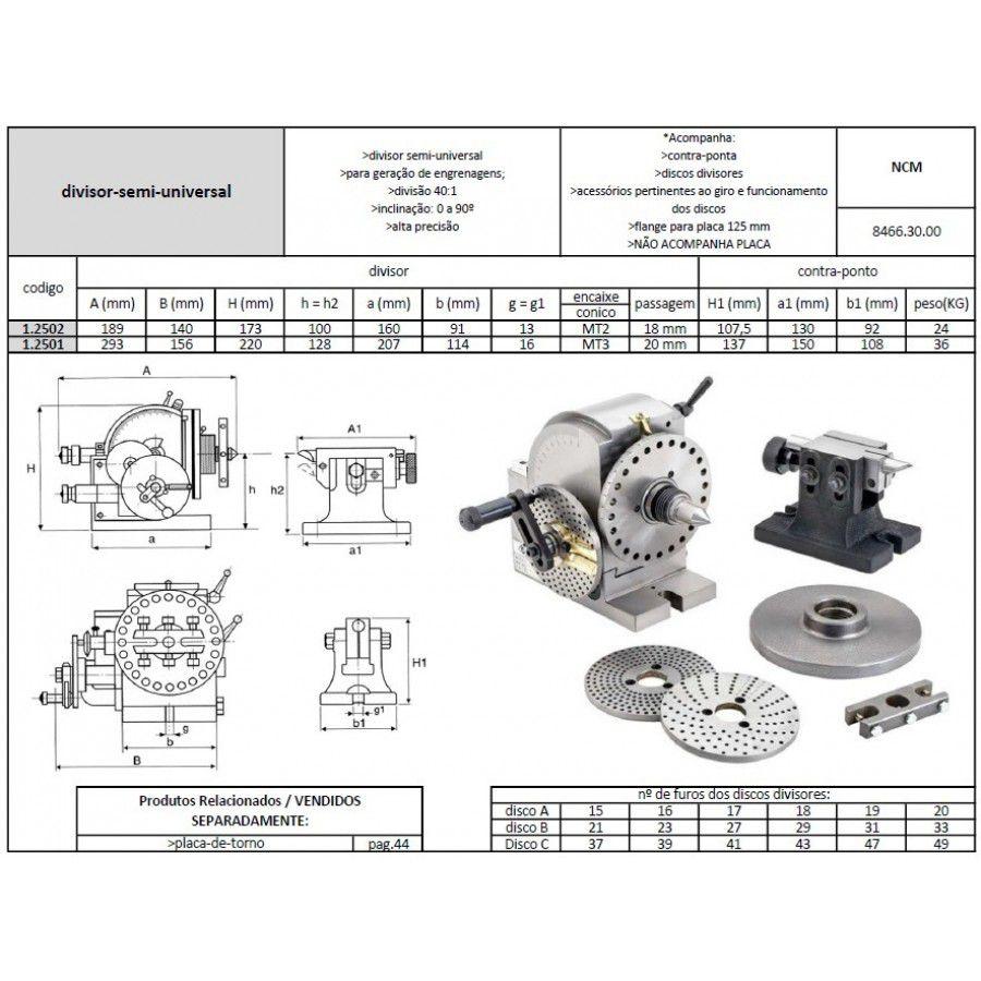 Divisor Semi Universal Modelo BS-1 com Contra Ponto - JG TOOLS
