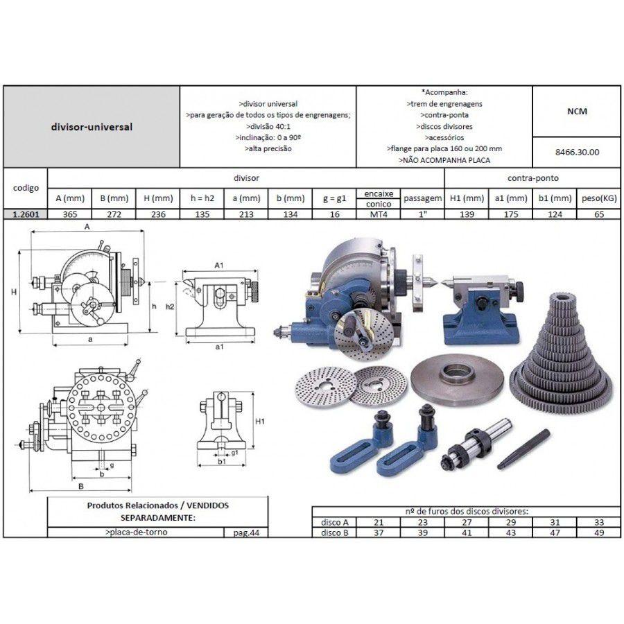 Divisor Universal Modelo BS-2 - Completo com Contra Ponto, Disco Divisor e Engrenagens - JG TOOLS